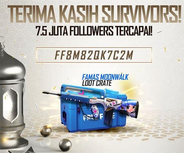 ff8m82qk7c2m Kode Redeem FF Mencapai 7 5 juta follower